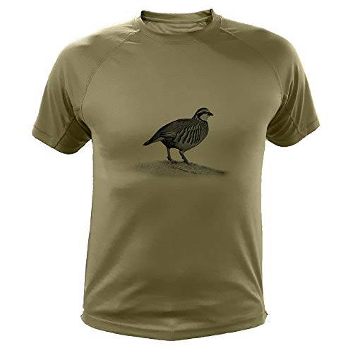 AtooDog Camisetas Personalizadas de Caza, Perdiz roja - Ideas Regalos (30166, Verde, M)