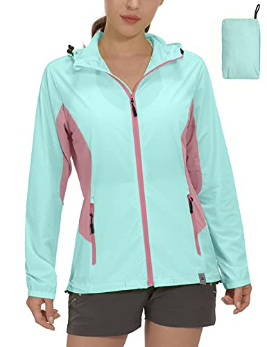 Mapamyumco Women's Sun Protection Lightweight Summer Jacket for Golf Running Cyclinig, Breathable Hiking Sports Clothing Light Blue S