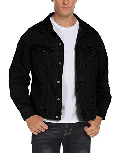 COOFANDY Men's Casual Denim Jacket Lightweight Classic Fit Trucker Jean Jacket