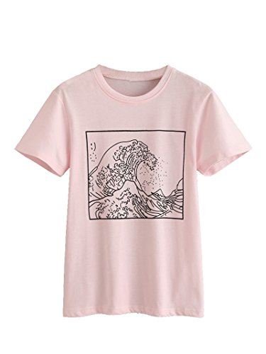 Romwe Women's Short Sleeve Top Casual Graphic Print Tee Shirt Pink L