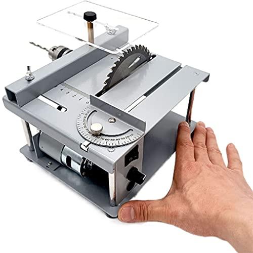 Sierras de Mesa Mini Sierra De Mesa Multifuncional Pequeña Máquina De Corte De Escritorio Modelo DIY Carpintería Hogar Motosierra Regalo (Color : Silver, Size : 19 * 16.5 * 10cm)