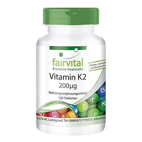 Vitamina K2 200µg - Menaquinona MK-7 Natural - A base de Natto fermentado - Menaquinona MK-7 - VEGANO - Dosis alta - 60 Comprimidos - Calidad Alemana
