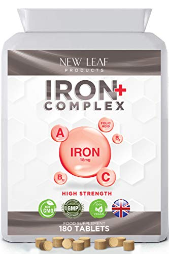 Iron Tablets 18mg High Absorbency with Vitamins A, C, B2, B12, and Folate - Reduces Tiredness and Fatigue - Vegan Iron Supplements, Non-GMO Gluten-Free, GMP UK-Made, 180 Tablets 6 Months Supply