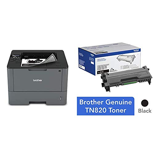 Brother Monochrome Laser Printer, HL-L5200DW, Wireless Networking, Mobile Printing, Duplex Printing & Genuine Toner Cartridge, TN820, Replacement Black Toner, Page Yield Up to 3,000 Pages