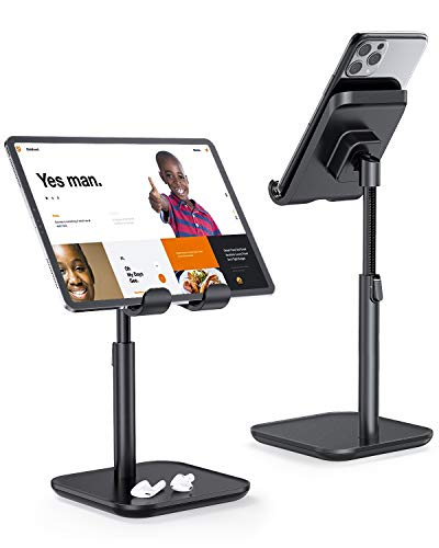 Cell Phone Stand, YIKA iPad Tablet Stand Holder for Desk - Phone Holder with Adjustable Height, Angle Compatible with All 4~11in Mobile Phones, Kindle, Tablet, iPad, Switch (Black)