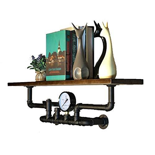 YLCJ Dikke industriële urban style plank Houten plank en muurbeugel in ijzer Breedte 80 Cm