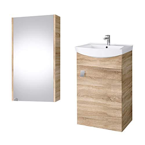 Planetmöbel Badmöbel Set Waschtisch + Waschbecken + Spiegelschrank Gäste Bad WC (Sonoma Eiche)