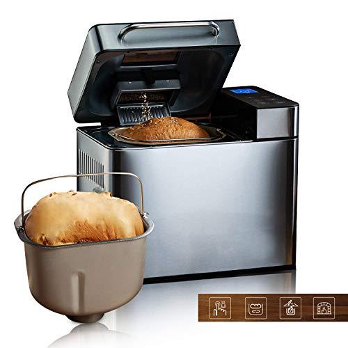 Meykey Brotbackautomat Backmeister Brotbackmaschine mit 19 Programme für 500g-1000g Brotgewicht, 850W, 15 Stunden Timing-Funktion, Warmhaltefunktion, Sichtfenster und LED Bildschirm
