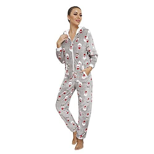 BIBOKAOKE Weihnachts Jumpsuit Schlafanzug Damen mit Kapuze Pyjama Einteiliger Strampler Nachtwäsche mit Reißverschluss und Taschen Nachtwäsche Trainingsanzug Freizeitanzug Overall Hausanzug