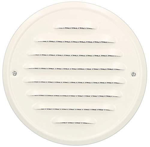 KOTARBAU® Lüftungsgitter 130mm Zinkblech Rund Abluftgitter Weiß Verschrauben Insektenschutzgitter Belüftungsgitter Entlüftungsgitter Lamellengitter