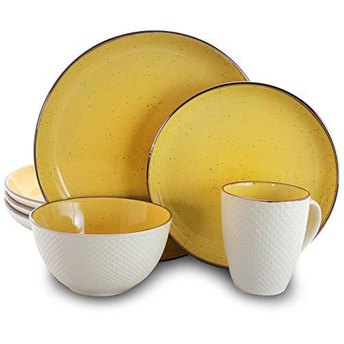Elama Mellow - Juego de vajilla, Amarillo brillante y blanco, 16 Piezas, 1