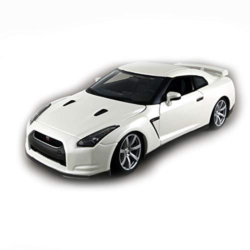 Modelo De Coche Famoso Escala De 1:18 para 2009 Nissan GT-R R35 Aleación Vehículo De Lujo Diecast Pull Back Cars Model Toy Collection Regalo (Color : White, Size : A)