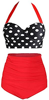 Amourri Womens Retro Vintage Polka Underwire High Waisted Swimsuit Bathing Suits Bikini,Black+red,US 10-12=Tag Size 2XL