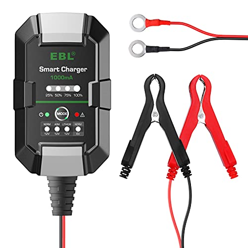 EBL Battery Charger 1-Amp Fully-Automatic Car Charger - 6V 12V Car Battery Charger, Battery Maintainer, Trickle Charger with Temperature Compensation for Cars, Lawn Tractors, Motorcycles
