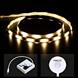 DANCRA Battery Powered Motion Activated LED Strip Light, 1m, Warm White, Auto Turn ON Off Timer, Waterproof Motion Sensor Night Light for UnderBed Bathroom Kids Room Closet