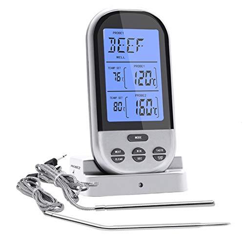 SHIJING Drahtlose Fernbedienung Digital Kochen Lebensmittel Fleisch Thermometer Sofortablesung mit Ofensonde für Backofen und Dual-Sonden für Küche Smoker