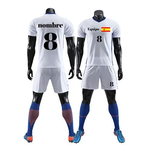 Equipación Fútbol Personalizada para Niños Camiseta y Pantalón Personalizables para Niño y Jóvenes con Nombre Número y Logotipo del Equipo (Blanco)