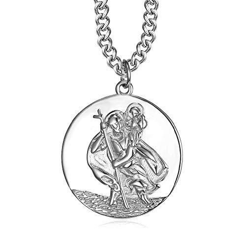 BOBIJOO JEWELRY - - Anhänger-Halskette Mann der Heilige christophorus, Schutzpatron der Reisenden, 25mm Kette 55cm Silber
