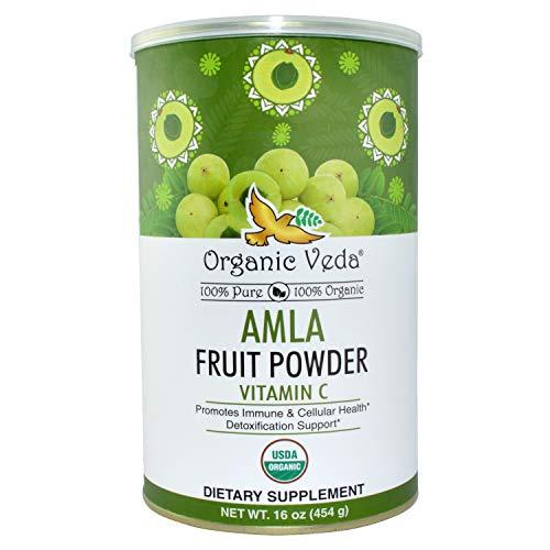 Organic Amla Fruit Powder 1lb. USDA Certified Organic 100% Pure and Natural Super Food Supplement. Non GMO, Gluten Free