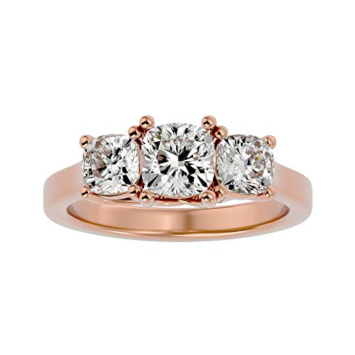 Anillo de compromiso certificado de 14 quilates con diamante moissanita de corte cojín (2,47 quilates) en 4 puntas con anillo de compromiso de oro blanco/amarillo/rosa para mujeres y niñas