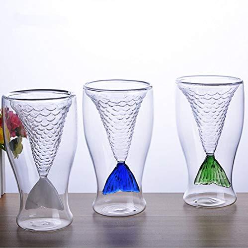 Zeemeermin Shot Glas, Creatieve Persoonlijkheid Zeemeermin Handgemaakte Glas Cup Ice Cream Cup Dubbele Hoge Temperatuur Glas van Rode Wijn, Kan Ook worden gebruikt als Shot Glas, voor Bier, Wijn, Sap, Of Elke Drink Blauw