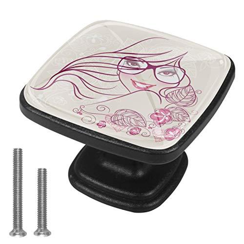 Soporte de perillas de gabinete Gafas niña flor Perillas de guardarropas Perillas de guardarropas de color para adolescentes Juego de 4 3x2.1x2 cm