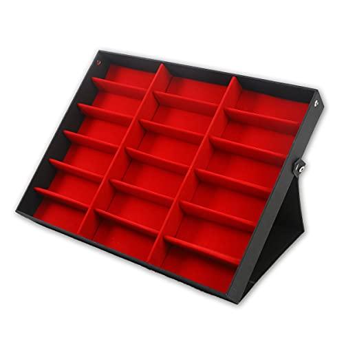 WZhen 18 rejillas gafas de sol gafas de sol almacenamiento caja de visualización rejilla soporte caja caja titular - rojo