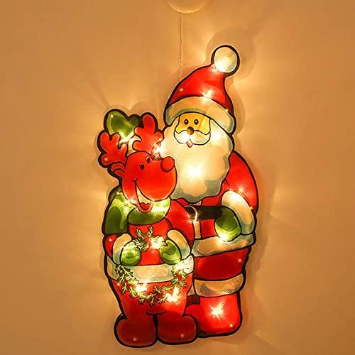 SpiceRack Luz LED Creativa Luz Colgante navideña para Ventana de la Tienda Ventosa Luces Colgantes Adornos navideños Lámpara Kit de Diamantes Hogar Año Nuevo Suministros Decor para Fiestas navideñas
