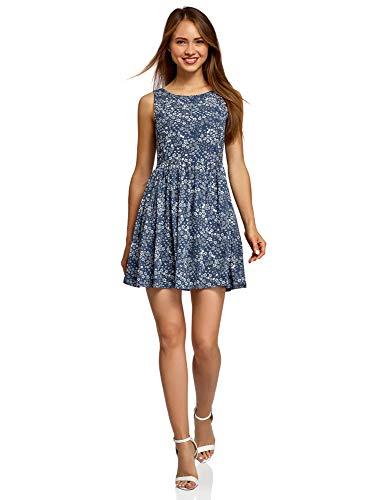 oodji Ultra Damen Druckkleid mit Schleife am Rücken| Blau| DE 40 / EU 42 / L | Bekleidung > Kleider > Druckkleider | oodji Ultra