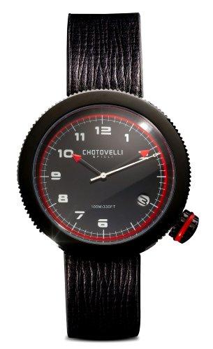Chotovelli メンズゲージ腕時計 アルファロメオダイアル ブラックレザーストラップ 80.05