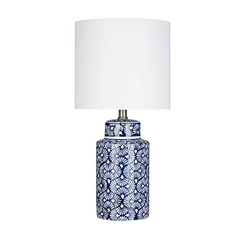 """Amazon Brand – Ravenna Home Global Ceramic Table Lamp, Bulb Included, 20""""H, Blue and White Stylized Fan Design"""