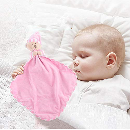Baby Komfort Sicherheitsdecke Weichem Plüsch Niedlichen Bär Beißring Beruhigend Beruhigend Schlafen Puppe Decke Handtuch für Baby Neugeborenen(Pink)
