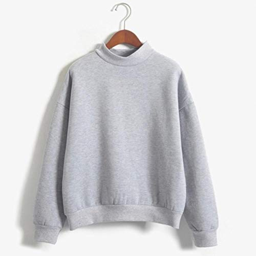 MU-PPX Solid Color Turtleneck Women Spring Harajuku Tops Long-Sleeved Pullovers Hoodies Sweatshirts Girls Clothing,Gray,L