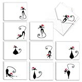 The Best Card Company - 20 Cat Christmas Note Cards - Funny Holiday Notecards with Animals (4 x 5.12 Inch) (10 Designs, 2 Each) - Meowy Christmas AM3265SGG-B2x10