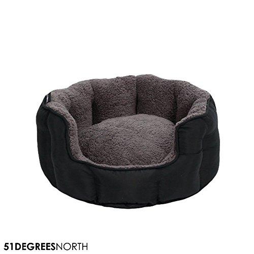 51 Degrees North Cama para Perros Gris Negro pequeños Perros, Super Suave Cama para Perros, Sheep Collection, Lavable, Grey Black
