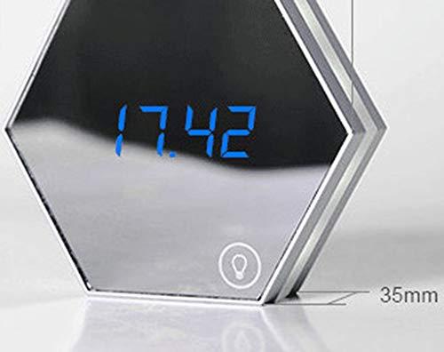 IGRNG Spiegel Wecker LED Spiegel Nachtlicht Digital Wecker Lade Thermometer Desktop Uhr Home Office Decor