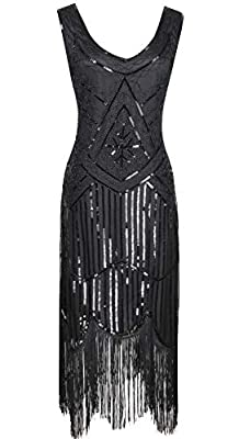 Women 1920S V Neck Sequined Beaded Gatsby Flapper Dress with 20s Accessories Set