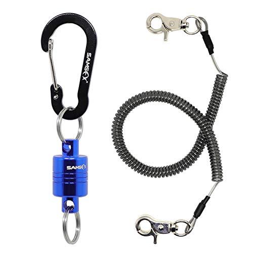 Sams Fishing Magnetischer Kescher-Clip / -Halter mit Schnur, 3,5 kg Magnetkraft, blau