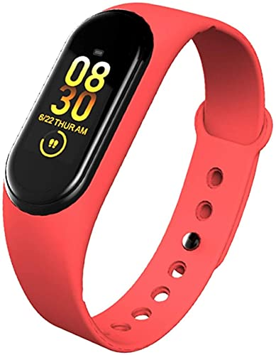 AMBM M4 Smartband Pulsera de ritmo cardíaco, sangre, presión, monitor de frecuencia cardíaca, reloj deportivo inteligente de salud (color: rosa) - rojo