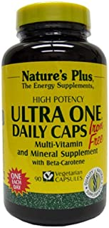 NaturesPlus Ultra One Iron Free - 90 Easy to Swallow Capsules - High Potency Once Daily Multivitamin & Mineral Supplement - Natural Energy - Vegetarian, Gluten-Free - 90 Servings