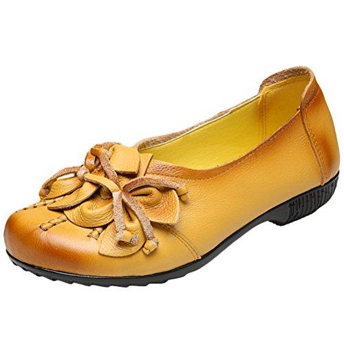 Vogstyle Damen Frühjahr/Sommer Vintage Handgefertigte Große Blume Leder Flache Schuhe Art 4-Gelb EU 40=Asian 41
