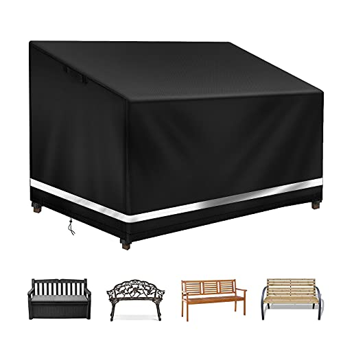 Raweao Outdoor Garden Bench Cover 2 Seater Waterproof 134 x 66 x 63/89cm, Patio Bench Seat Cover for 2 Seater Rattan Sofa Cover, 600D Oxford Protective Cover for Picnic Bench,Black
