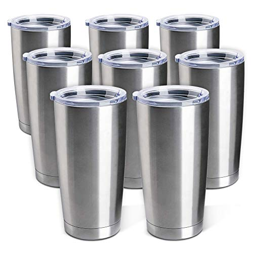Stainless Steel Tumblers Bulk 8-Pack 20oz Double Wall Vacuum Insulated by Pixiss   Bulk Cup Coffee...