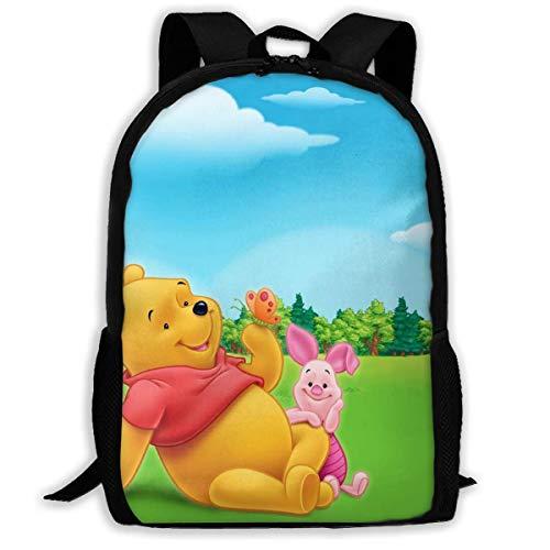 Beating Heart Mochila Escolar, Winnie The Pooh Personalizado con Amigos Mochila Informal Mochila Escolar Mochila de Viaje Regalo