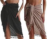 Eicolorte Beach Sarong Pareo Womens Semi-Sheer Swimwear Cover Ups Short Skirt with Tassels (Black+Khaki-Short)