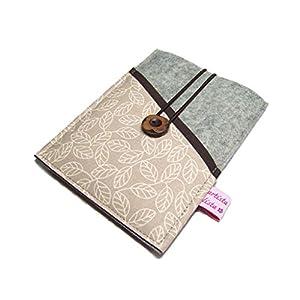 eBook Reader eReader Hülle Wollfilz Filz + Stoff Blätterrausch, Maßanfertigung, z. B. für Tolino Epos