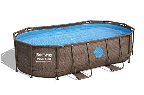"Bestway Power Steel Swim Vista Series 14' x 8'2"" x 39.5"" Oval Frame Above Ground Swimming Pool with Pump, Ladder and Cover"