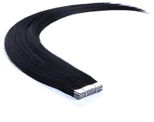Remy Echthaar Tape On/In Extensions Haarverlängerung 10 Tressen mit dem extra starken WEISSEN TAPE (40cm, 01 - Schwarz)