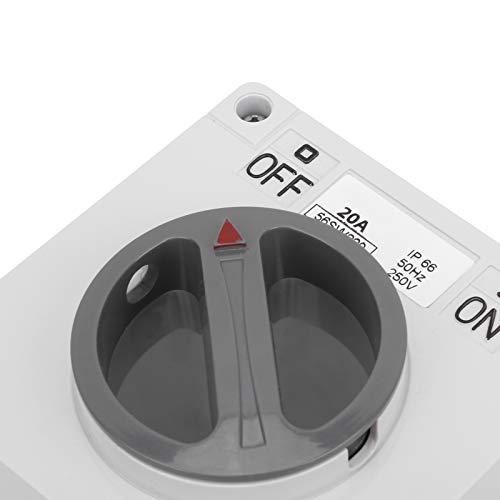 Interruptor impermeable de 250 V para lugares al aire libre(2P20A, pink)
