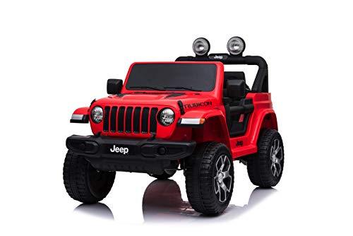 TOYSCAR electronic way to drive Auto Macchina Elettrica Jeep Wrangler Rubicon 12V per Bambini Porte apribili con Telecomando Full Accessori (Rossa)